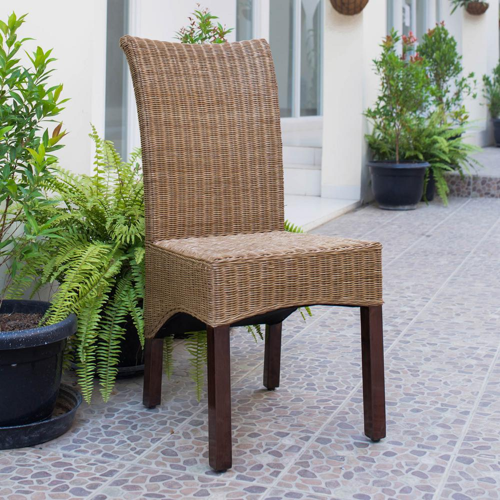 Campbell Salak Brown Rattan Wicker Stained Finish Dining Chair With Gany Hardwood Frame