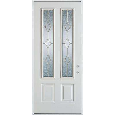 37.375 in. x 82.375 in. Geometric Patina 2 Lite 2-Panel Painted White Left-Hand Inswing Steel Prehung Front Door