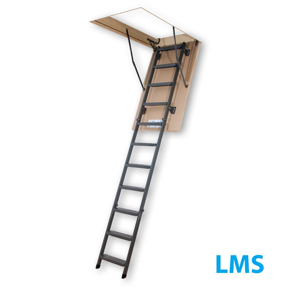 Fakro LMS 8 ft. 11 in., 22 in. x 47 in. Insulated Steel Attic Ladder with 350 lb. Load Capacity Type IA Duty Rating