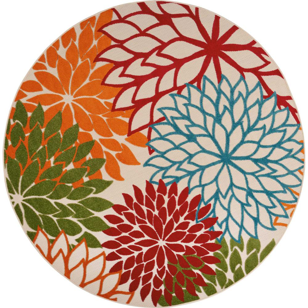 Aloha Green 8 ft. x 8 ft. Indoor/Outdoor Round Area Rug