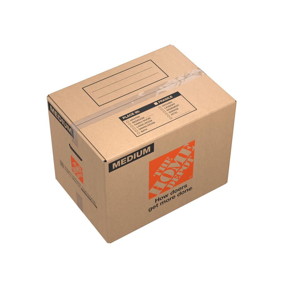 The Home Depot 21 in. L x 15 in. W x 16 in. D Medium Moving Box with Handles (150-Pack) The Home Depot Medium Moving Box is great for storing and shipping moderately heavy or bulky items. Ideal for kitchen items, toys, small appliances and more. This box is crafted from 100% recycled material for an environmentally responsible moving and storage option.