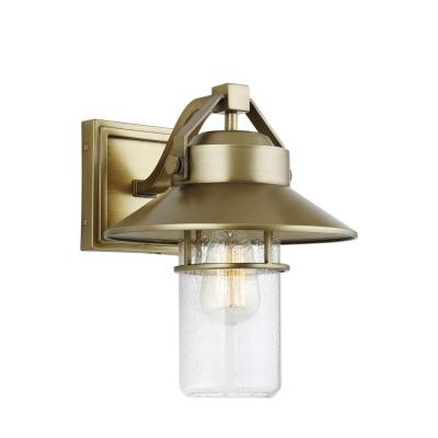 Feiss Boynton 13 in. 1-Light Painted Distressed Brass Outdoor Wall Lantern Sconce