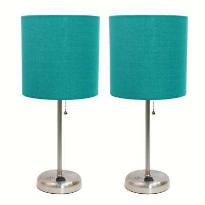 19.5 inch Brushed Steel and Teal Stick Lamp with Charging Outlet and Fabric Shade 2 Pack Set
