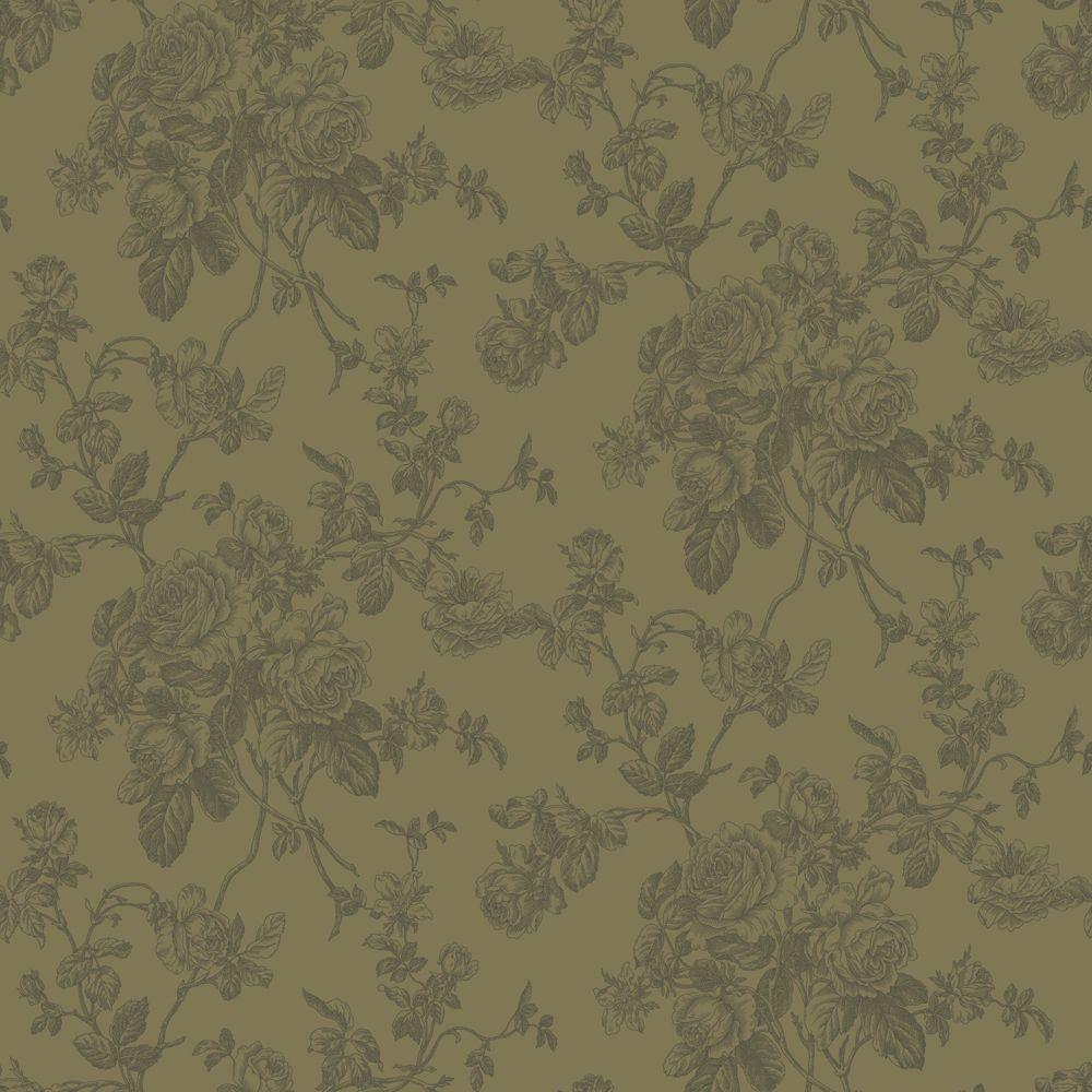 The Wallpaper Company 56 sq. ft. Metallic Lacey Rose Toile Wallpaper