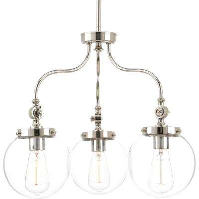 Penn Collection 3-Light Polished Nickel Chandelier with Clear Glass Shade