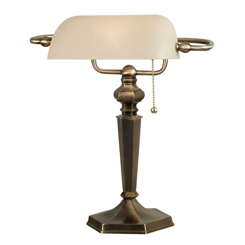 Mackinley 15 in. Georgetown Bronze Banker Lamp