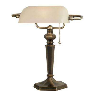 Mackinley 15 in. Georgetown Bronze Banker Lamp