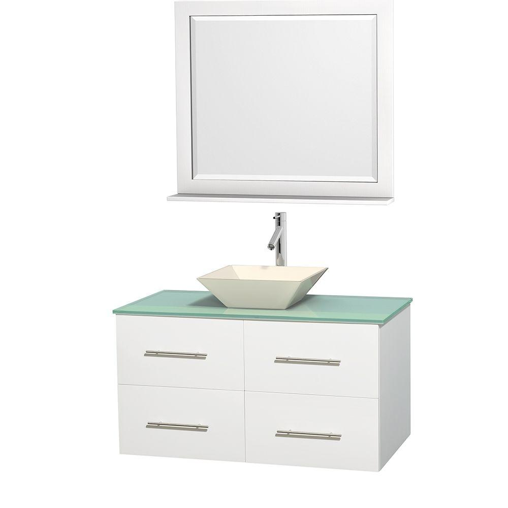 Wyndham Collection Centra 42 in. Vanity in White with Glass Vanity Top in Green, Bone Porcelain Sink and 36 in. Mirror