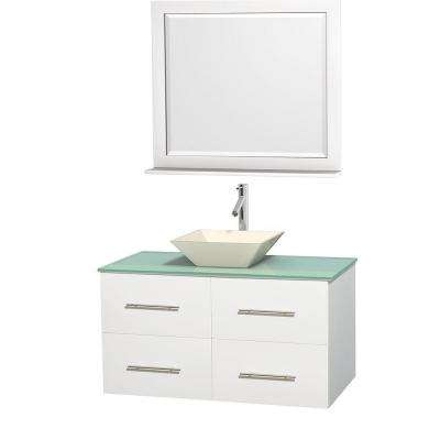 Centra 42 in. Vanity in White with Glass Vanity Top in Green, Bone Porcelain Sink and 36 in. Mirror