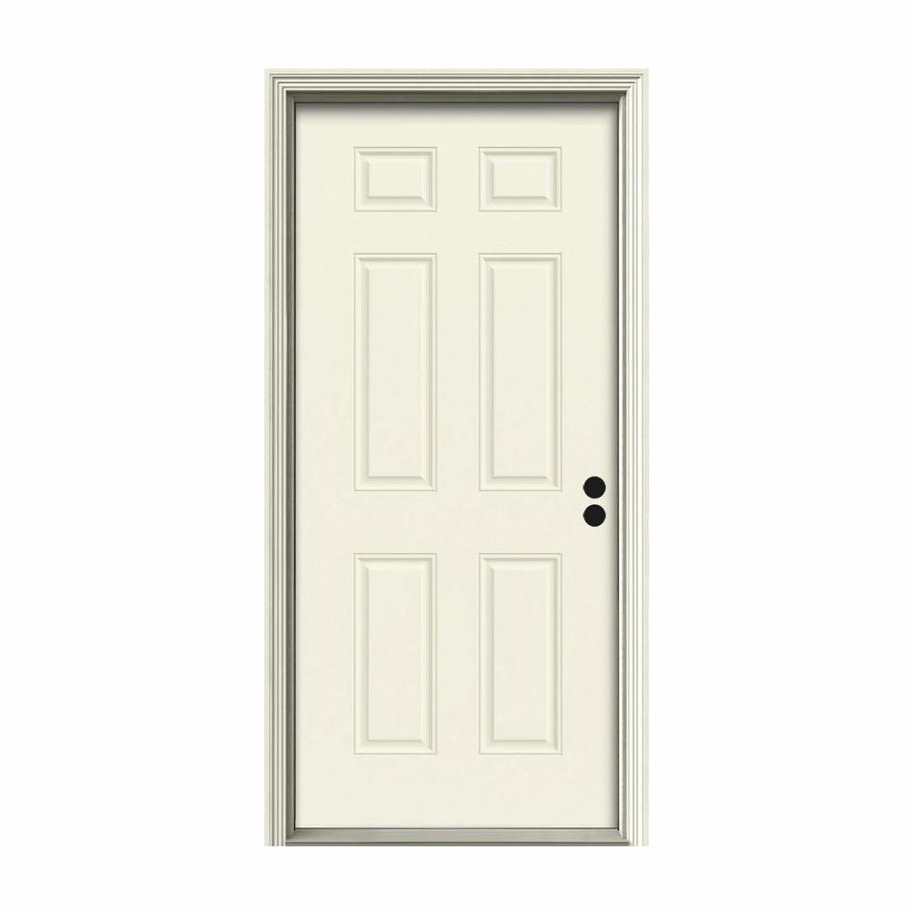 36 in. x 80 in. 6-Panel Vanilla Painted Steel Prehung Left-Hand Inswing Front Door w/Brickmould