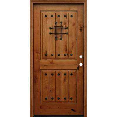 Rustic 2-Panel Square Top V-Grooved Stained Knotty Alder Wood Prehung Front Door with 6 in. Wall Series