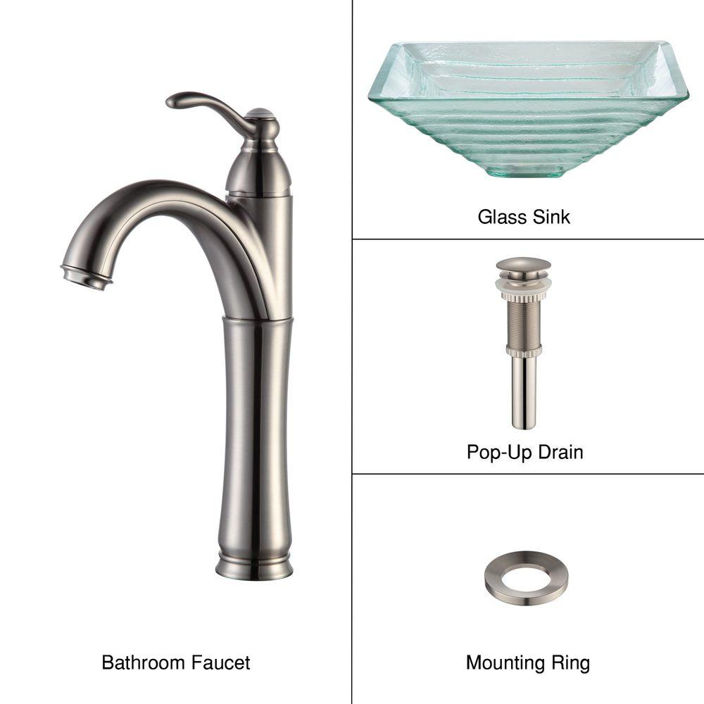 KRAUS Alexandrite Glass Vessel Sink in Clear with Single Hole 1-Handle High Arc Riviera Faucet in Satin Nickel