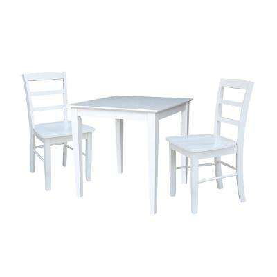 Emma 3-Piece White Solid Wood Dining Table Set