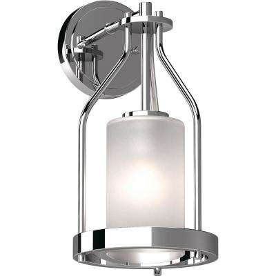 Emery 1-Light 5 in. Chrome Indoor Vanity Wall Sconce or Wall Mount with Frosted Glass Cylinder Shade