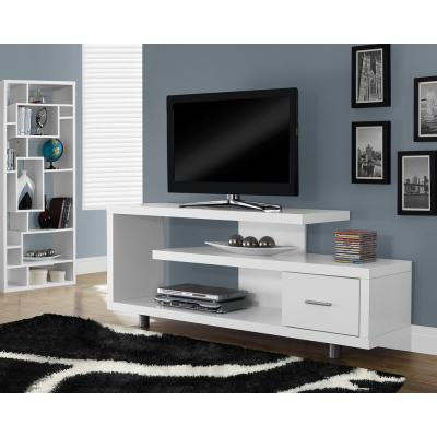 60 in. White Particle Board TV Stand with 1 Drawer Fits TVs Up to 58 in.