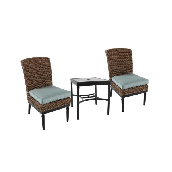 Camden Light Brown 3-Piece Wicker Outdoor Bistro Set with Sunbrella Canvas Spa Cushions