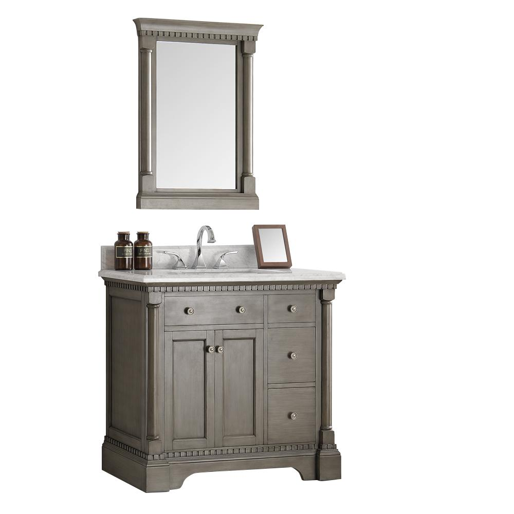 Vanity in Antique Silver with Marble Vanity Top in Carrera White