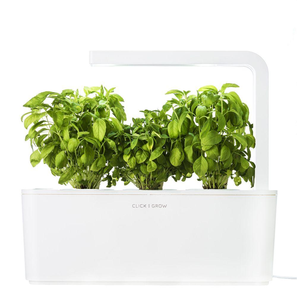Click and Grow Smart Herb Garden with 3 Basil Cartridges Indoor Culinary Herb Grow Kit (White Lid)