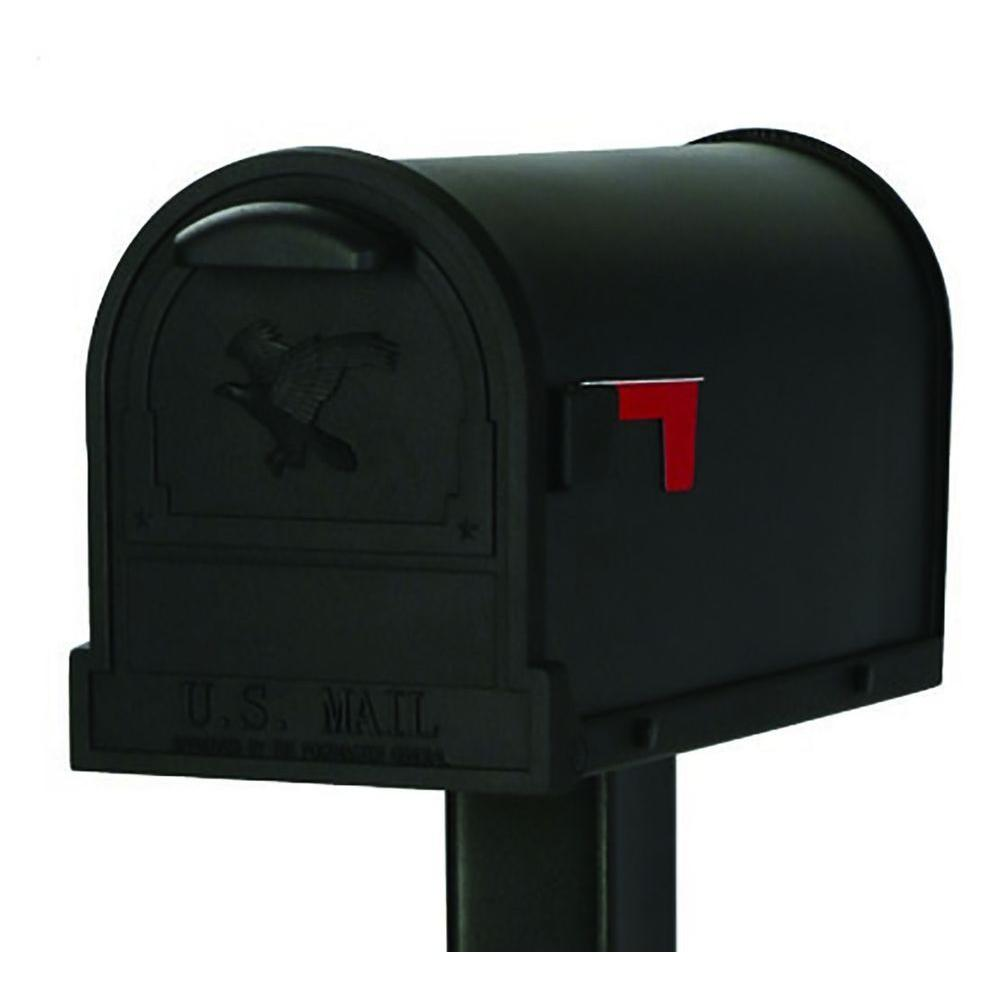 Gibraltar Mailboxes Arlington Premium Steel Post-Mount Mailbox, Black