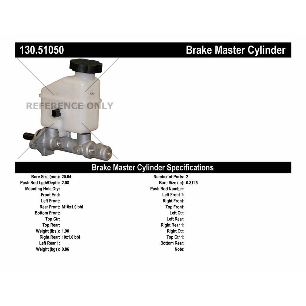 130.51042 Centric Brake Master Cylinder New Sedan for Hyundai Elantra 2007-2010