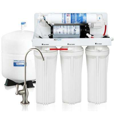 Ultimate Electric Pumped Undersink Reverse Osmosis Water Filtration System 50 GPD for Low Pressure Home 0-30 psi 120V US