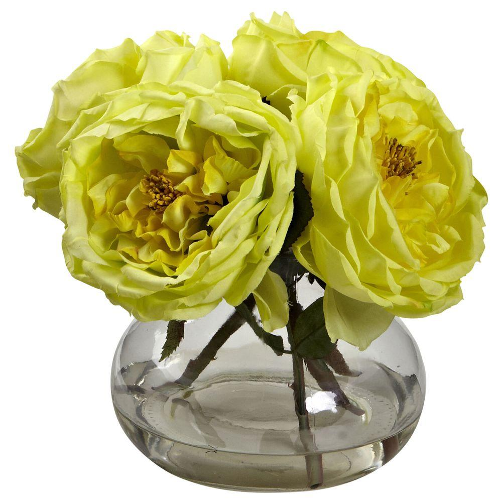 Nearly Natural Fancy Rose With Vase 1391 Yl The Home Depot