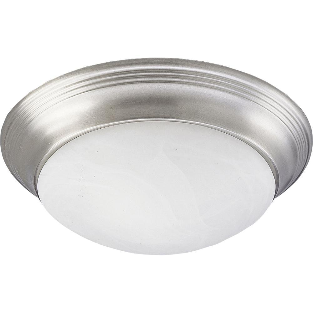 Progress Lighting 2-Light Brushed Nickel Flush Mount with Alabaster Glass was $57.94 now $28.97 (50.0% off)