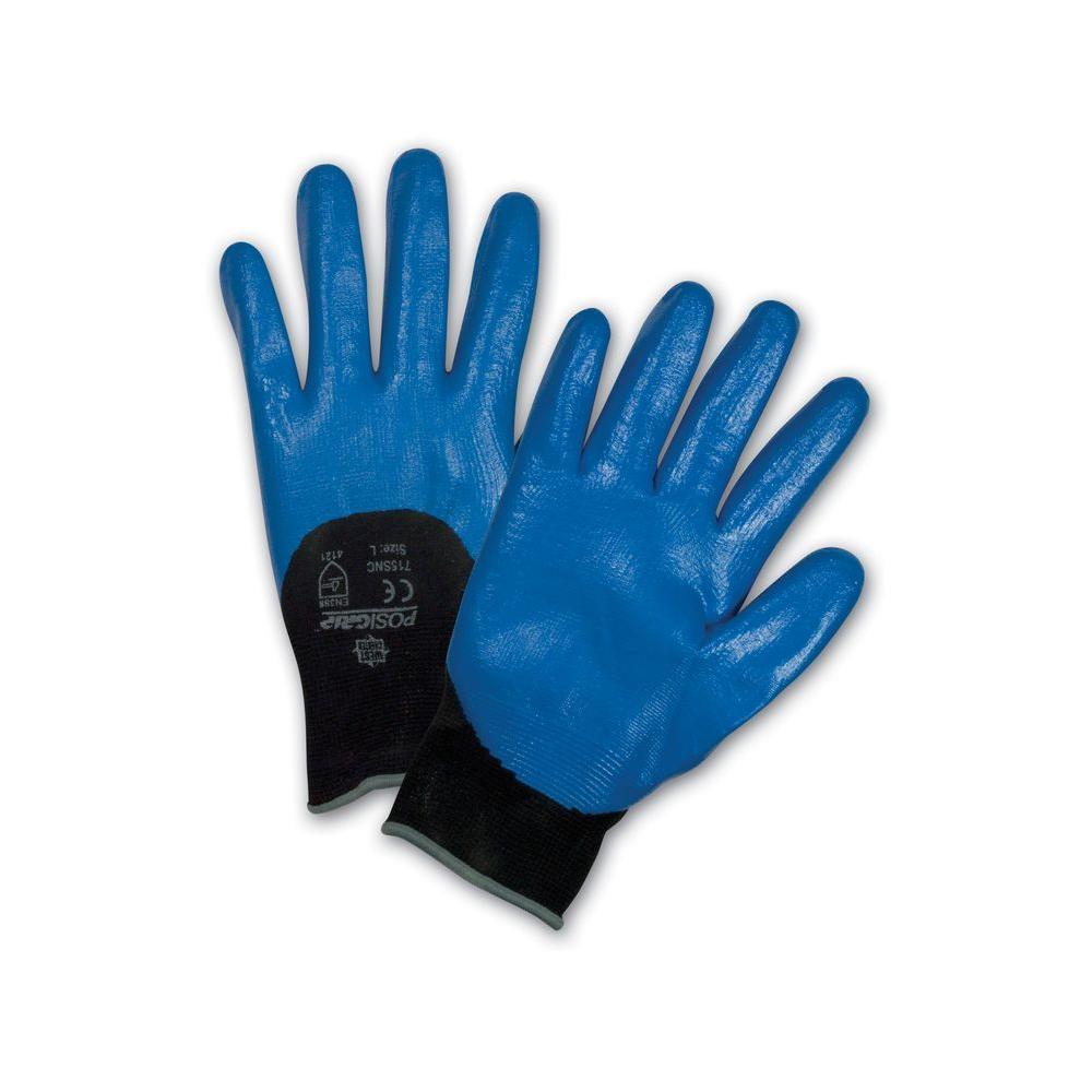 Blue Flat Nitrile 3/4 in. Dip on Black Nylon Shell Dozen Pair Gloves-Small