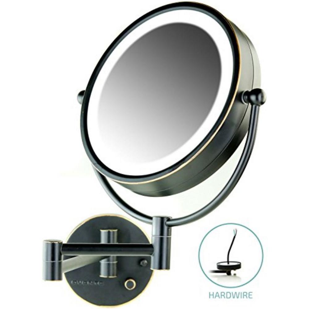 Hardwired 4.7 in. W x 12.4 in. H Framed Round Bathroom Vanity Mirror in Bronze