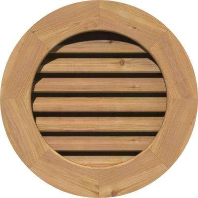 27 in. x 27 in. Smooth Western Red Cedar Functional Gable Vent with Flat Trim Unfinished (22 in. x 22 in. Rough Opening)
