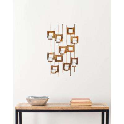 26.8 in. Votive Wall Decor in Burnt Copper