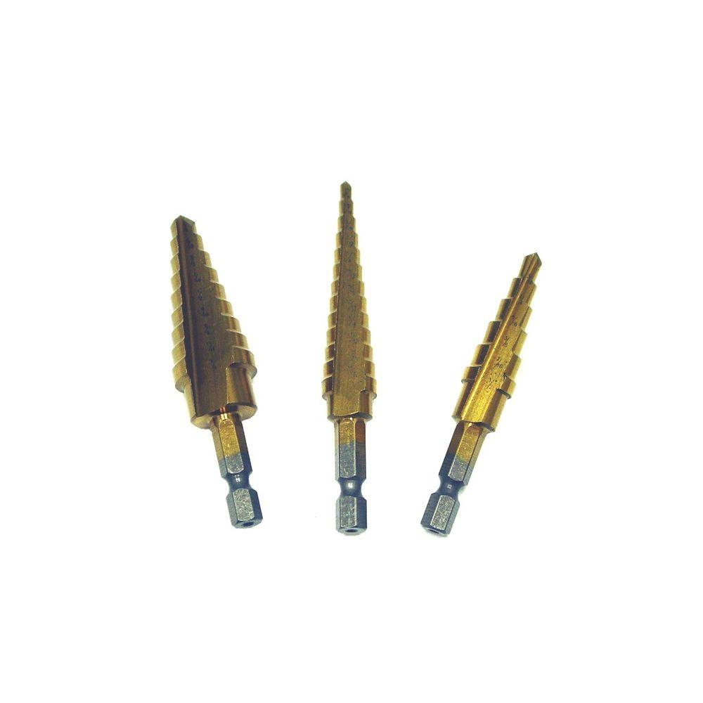 Titanium Coated Steel Step Drill Bit Set (3-Piece)