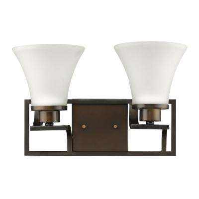Mia 14.5 in. 2-Light Oil-Rubbed Bronze Sconce with Etched Glass Shades