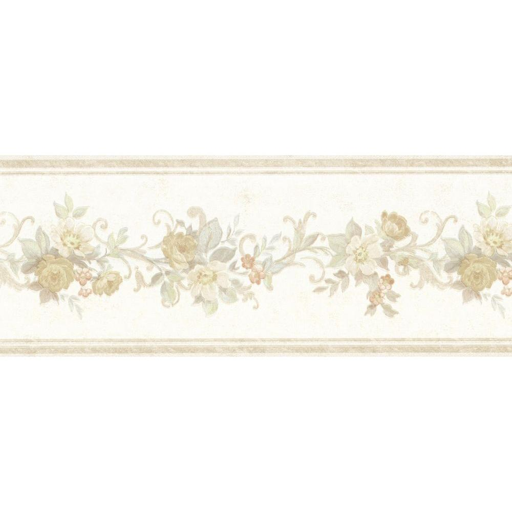 Mirage Lory Taupe Floral Wallpaper Border
