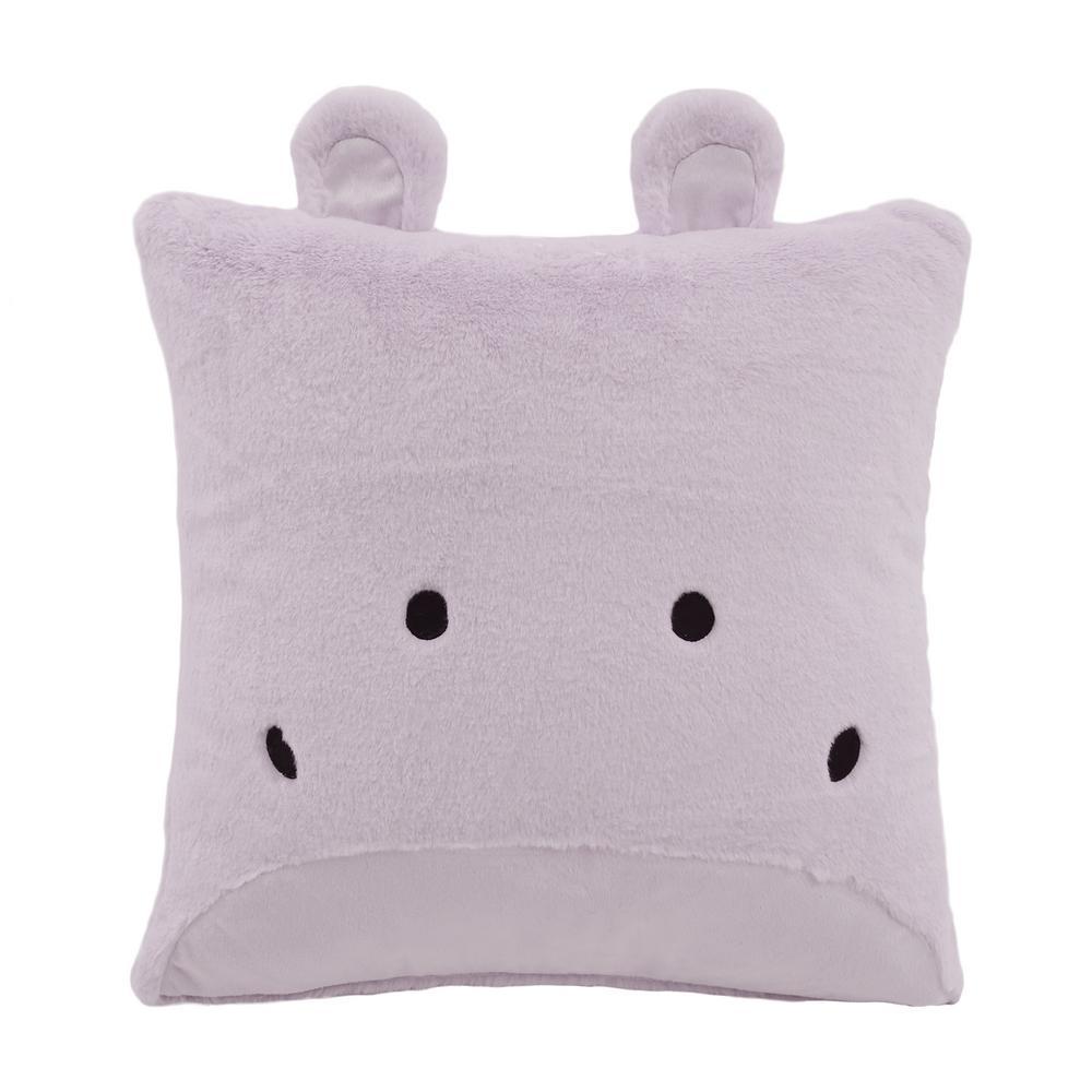 Faux Fur Plush Hippo Pillow in Lavender