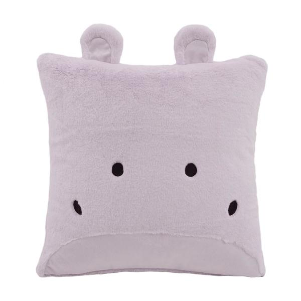 Best Home Fashion Faux Fur Plush Hippo Pillow in Lavender