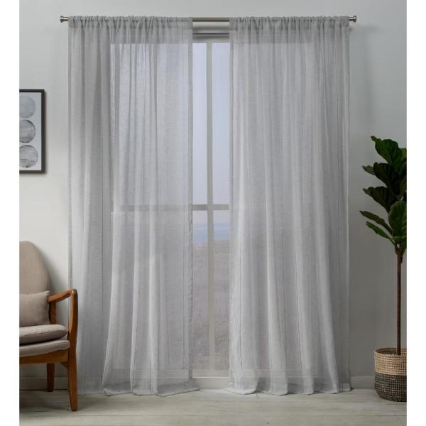 Hemstitch 54 in. W x 108 in. L Sheer Rod Pocket Top Curtain Panel in Silver (2 Panels)