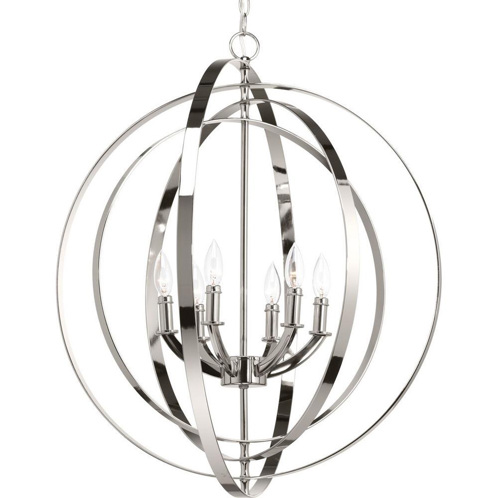 Equinox 6 -Light Polished Nickel Pendant