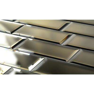 3 in. x 12 in. Echo Matte Gold Glass Mirror Peel and Stick Decorative Wall Tile Backsplash Sample