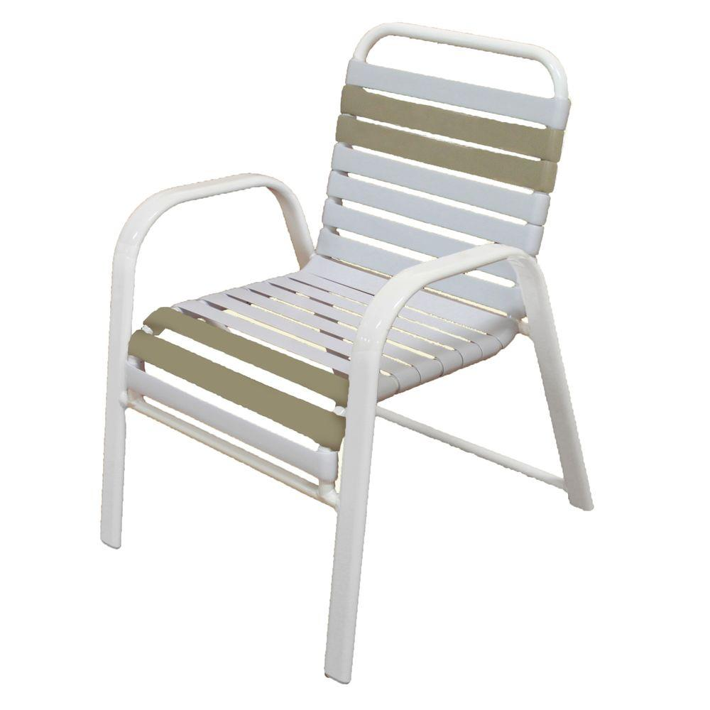 Remarkable Marco Island White Commercial Grade Aluminum Vinyl Strap Outdoor Dining Chair In White And Putty 2 Pack Home Interior And Landscaping Dextoversignezvosmurscom