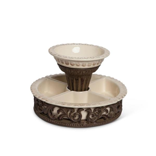 13 in. D Crudite Set with Brown Metal Holder 31665