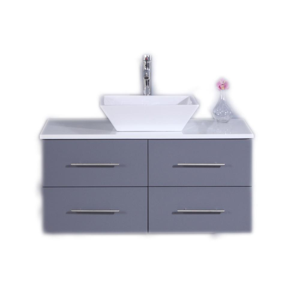 Eviva Totti Wave 36 in. W x 21 in. D x 22 in. H Vanity in Gray with Glassos Vanity Top in White with White Basin