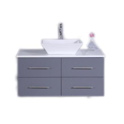 Totti Wave 36 in. W x 21 in. D x 22 in. H Vanity in Gray with Glassos Vanity Top in White with White Basin