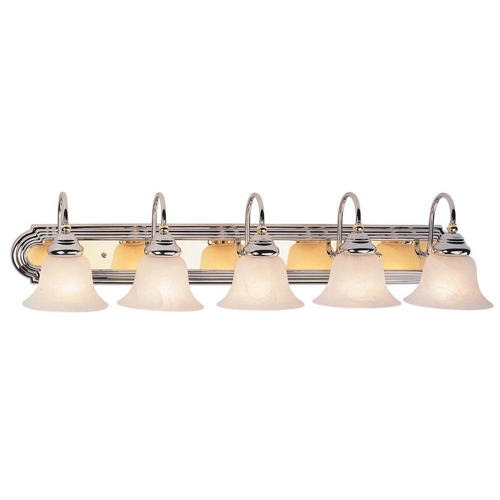 Filament Design Providence 5-Light Chrome and Polished Brass Incandescent Bath Vanity Light