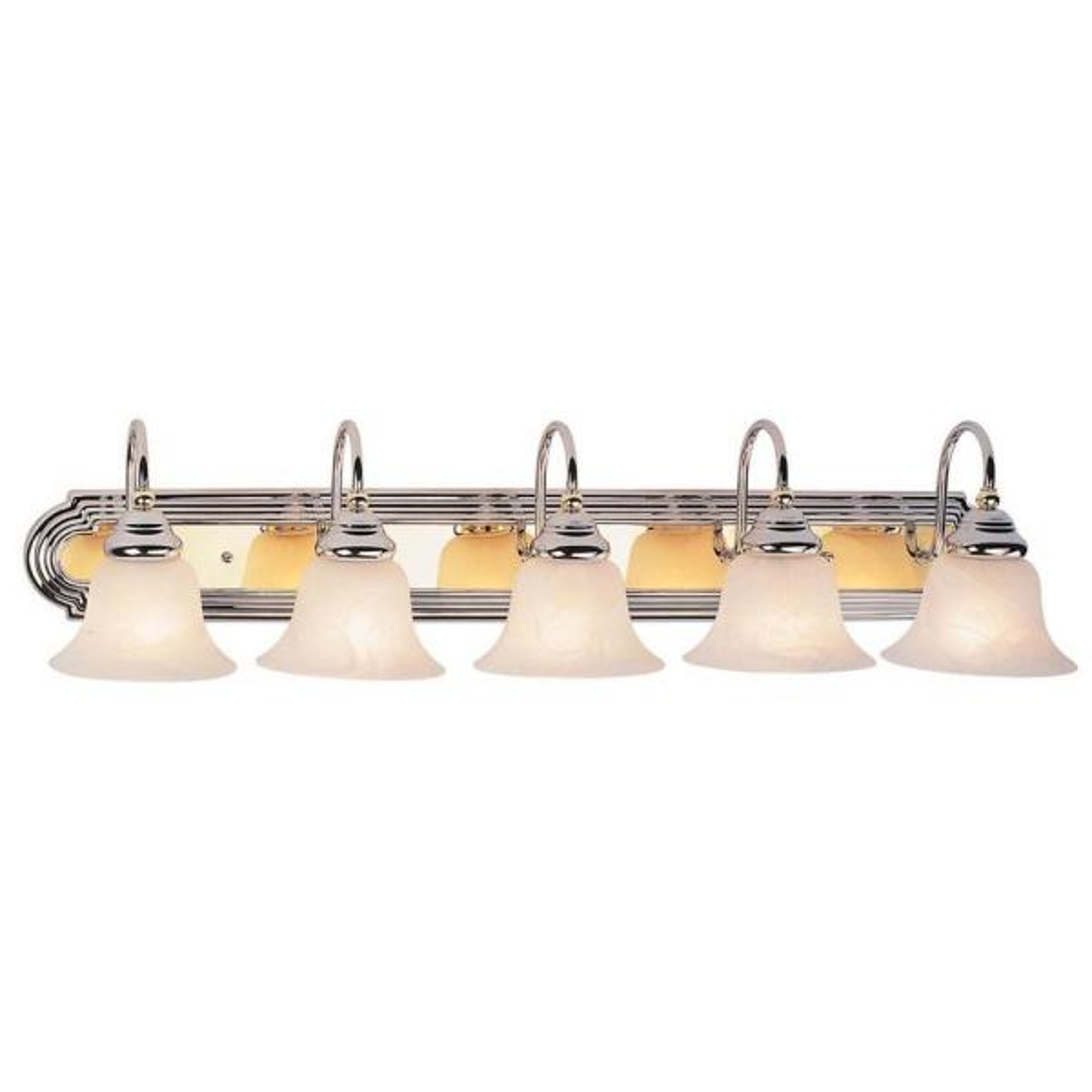 Providence 5-Light Chrome and Polished Brass Incandescent Bath Vanity Light