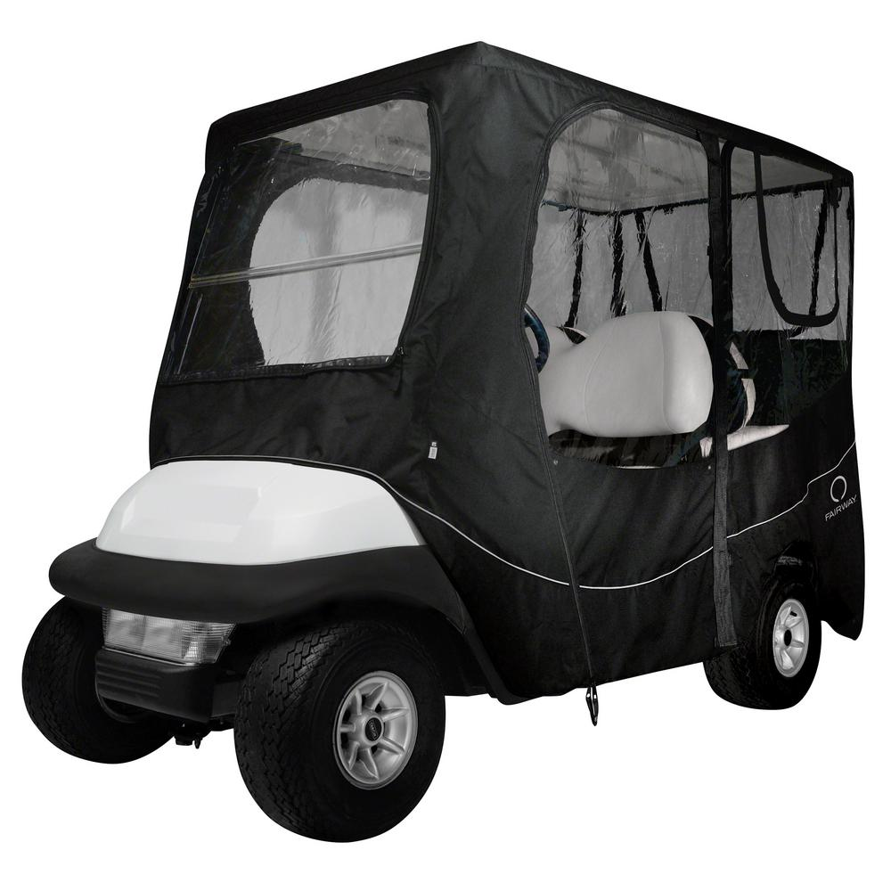 Deluxe Golf Car Enclosure Black Long Roof