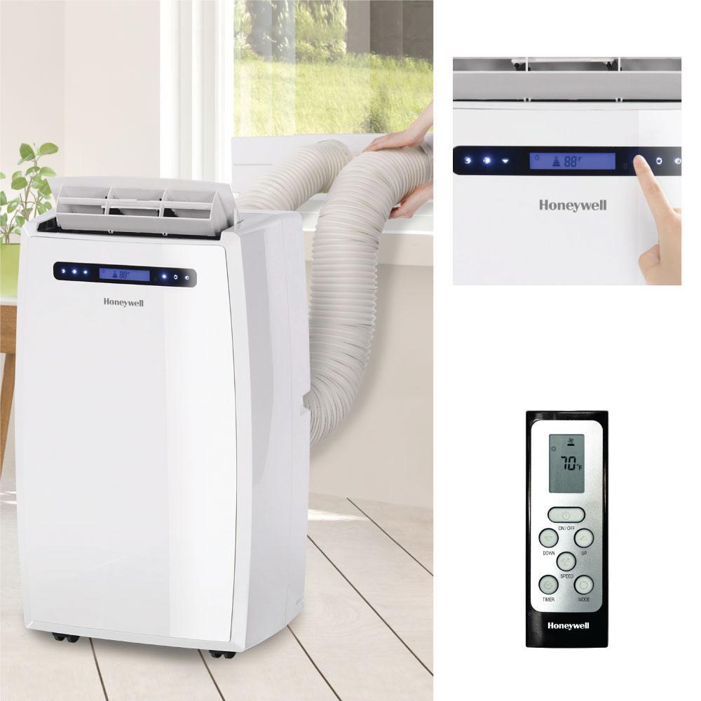 Honeywell Mn Series 14 000 Btu 8 000 Btu Doe Dual Hose Portable Air Conditioner With Dehumidifier In White Mn14ccdww The Home Depot