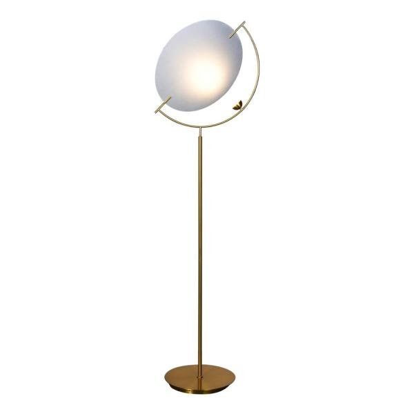 Como 59.75 in. Antique Brass Indoor Floor Lamp with Integrated LED Technology