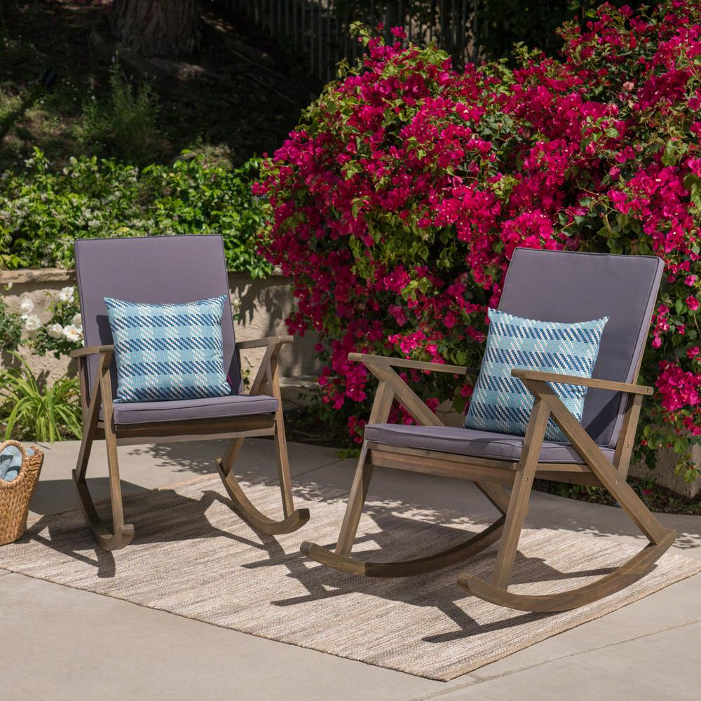 Noble House Gus Gray Wood Outdoor Rocking Chairs with Gray Cushions (2-Pack)