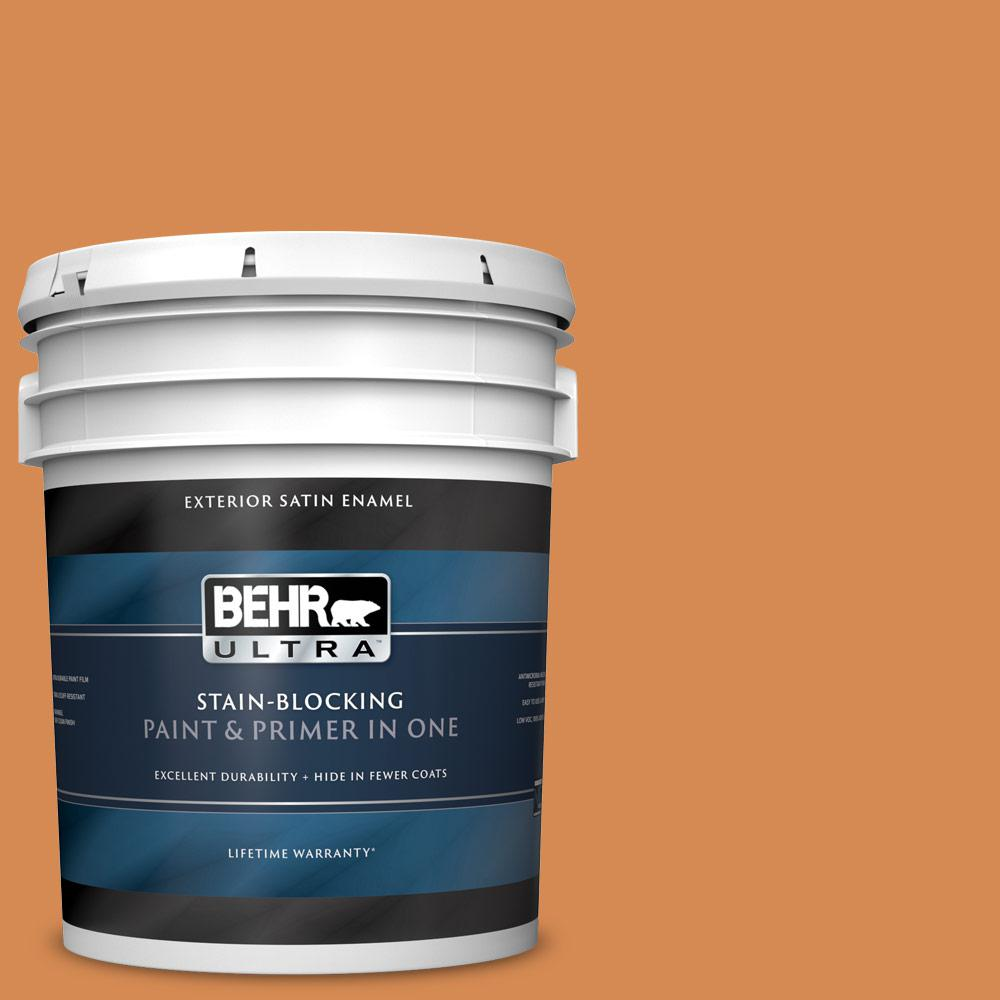 Behr Ultra 5 Gal 260d 5 Amber Wave Satin Enamel Exterior Paint And Primer In One 985305 The Home Depot